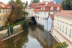 Prague. The old water mill on the river devil. Royalty Free Stock Photography