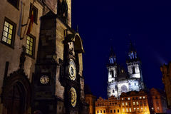 The Prague Orloj - The Prague astronomical clock. The Prague astronomical clock, or Prague orloj is a medieval astronomical clock mounted on the southern wall of royalty free stock photography