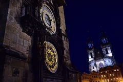 Prague Orloj - Prague den astronomiska klockan Arkivfoto