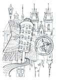 Prague outline drawing Royalty Free Stock Image