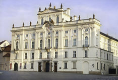 Prague Palace. The white prague palace outside of the castle front gate Royalty Free Stock Photo