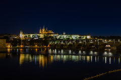 Prague palace and St. Vitus Cathedral at night. Stock Image