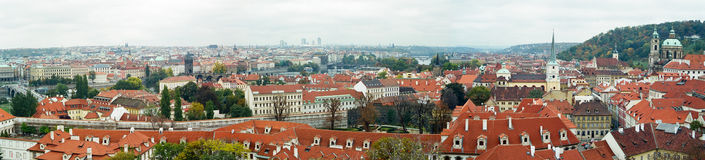 Prague Panorama. A panoramic view of the red roofs of Prague, Czech Republic royalty free stock photography