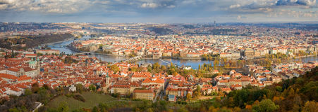 Prague Panorama. A panorama of the whole of the historical center of Prague, showing the Vlatava River and bridges Royalty Free Stock Photo