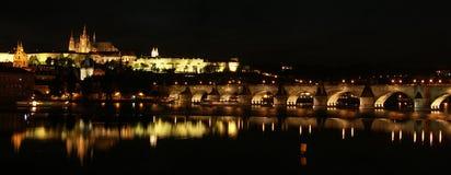 Prague panorama. Panorama of Prague castle and Charles Bridge Stock Photo