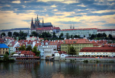 Prague panorama. Prague Casle and the embankment of Vltava River by summer evening, Prague Royalty Free Stock Photography