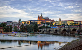 Prague panorama. Prague Castle, Charles Bridge and the embankment of Vltava River by summer evening, Prague Stock Images