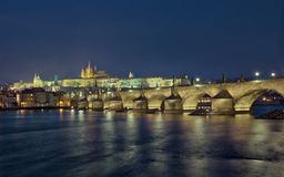 Prague panorama with Castle and Charles Bridge royalty free stock images