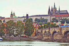 Prague panorama with the Castle and Charles Bridge Royalty Free Stock Image