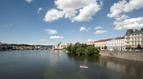 Prague - panorama with Charles Bridge Royalty Free Stock Photo
