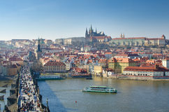 Prague panorama-Charles Bridge,Castle,Vltava Royalty Free Stock Photography