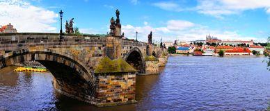 Prague panorama with Charles Bridge Royalty Free Stock Photography