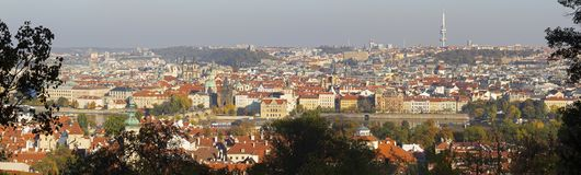Prague - The panorama of the city with the Charles bridge and the Old Town in evening light royalty free stock photo