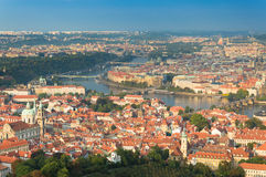 Prague, panorama of the city from Petrin lookout tower. Stock Photo