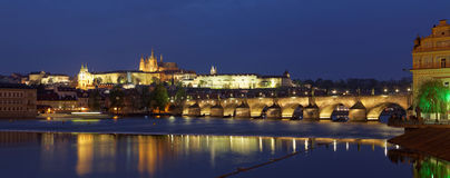 Prague, panorama city skyline and Charles Bridge, Prague, Czech Republic Stock Photos