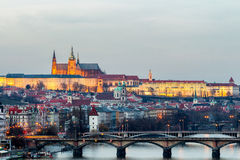 Prague panorama in the evening, view from Vysehrad Stock Photography