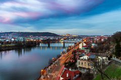 Prague panorama in the evening, view from Vysehrad Royalty Free Stock Images