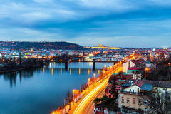 Prague panorama in the evening, view from Vysehrad stock image