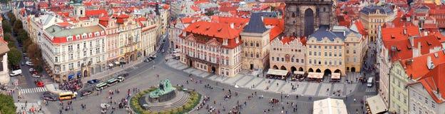 Prague panorama från Rathaus Arkivbild