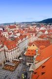Prague panorama från Rathaus Arkivfoto