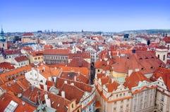Prague panorama från Rathaus Royaltyfri Bild