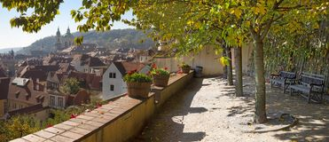 Prague - The panorama from the gardens under the Castle to Mala Strana and St. Nicholas church royalty free stock photography