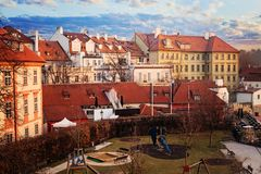 Prague panorama with kids playground. Children`s entertainment and leisure in Prague, Czech Republic royalty free stock photography