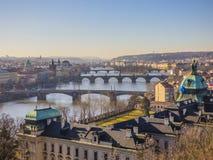 Prague panorama med den Vltava floden Royaltyfria Bilder