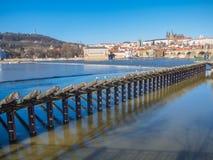 Prague panorama med den Vltava floden Royaltyfri Bild