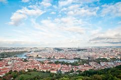 Prague Panorama, the Moldau River Stock Image