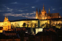 Prague panorama at night. Panoramic night view to Lesser Town, Prague castle and St. Nicholas church Royalty Free Stock Photos