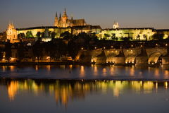 Prague panorama at night Stock Images