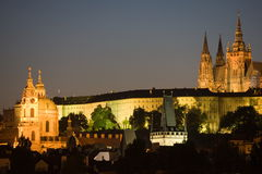 Prague panorama at night royalty free stock photo