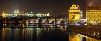 Prague panorama at night. Prague panorama. View of the Charles Bridge and Castle in Prague at night Royalty Free Stock Images