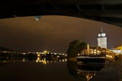 Prague panorama at night. Prague at night, view from under Jirasek Bridge Royalty Free Stock Photography