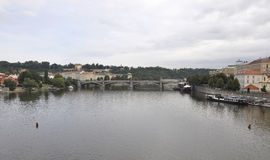 Prague Panorama over Vltava river and Charles Bridge in Czech Republic Royalty Free Stock Photos