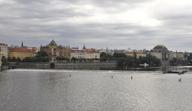 Prague panorama over Vltava river in Czech Republic Stock Images