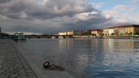Prague panorama with Palacky bridge. stock footage