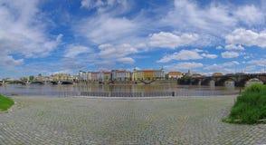 Prague panorama. Panoramatic view of Prague with river Vltava Royalty Free Stock Photo