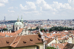 Prague panorama. Panoramic view of Prague. Typical red tile roofs inold town Royalty Free Stock Photography