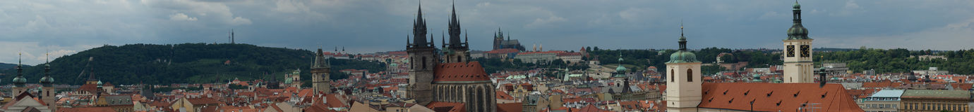 Prague panorama (Powder tower). Prague panorama upstream from Powder tower. Czech republic Royalty Free Stock Photo