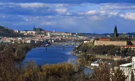 Prague panorama with Prague Castle, Vltava River and Vysehrad Stock Image