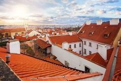 Prague panorama with red tiled roofs. March cityscape skyline of Prague Czech Republic royalty free stock image