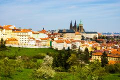 Prague panorama with St. Vitus Cathedral Stock Photography