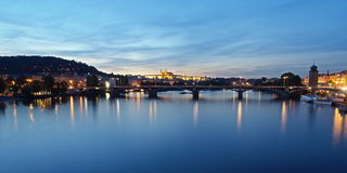 Prague panorama. In the summer evening, view from Palacky Bridge Royalty Free Stock Image