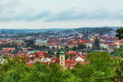 Prague panorama in the summer from the top overlooking the Tyn Church. Stock Images