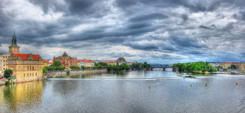 Prague panorama, Tjeckien Arkivfoto