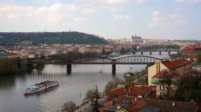 Prague panorama. View of Prague with Prague Castle and Vltava river from Vyšehrad castle Stock Images
