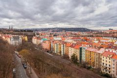 Prague panorama view from Vysehrad, Shallow depth of field Royalty Free Stock Photography