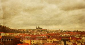 Prague panorama view from Vysehrad, stylized antique postcard Stock Images